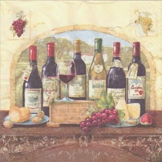 4 Serviettes en papier Dégustation du vin Format Lunch