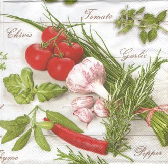 4 Serviettes en papier Herbes Tomate Ail Format Lunch