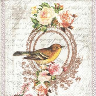 4 Serviettes en papier Oiseau Nostalgie Format Lunch