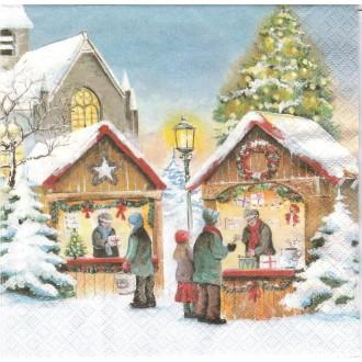 4 Serviettes en papier Marché de Noël Format Lunch