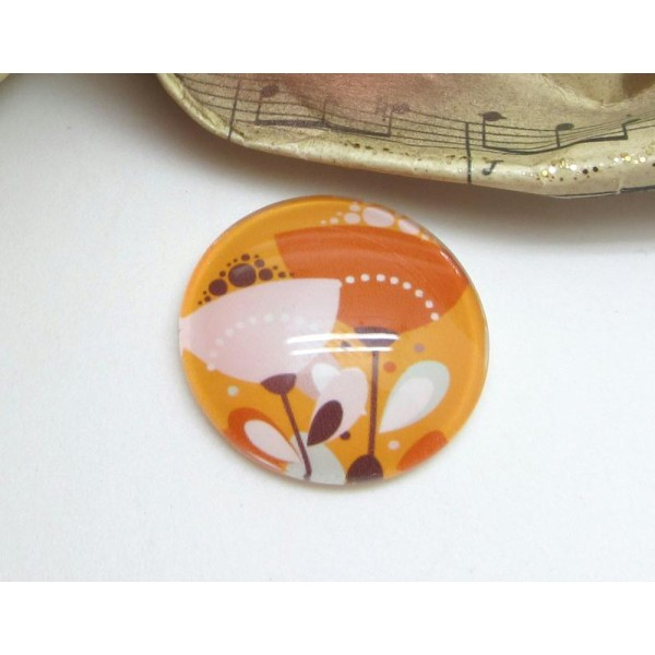 2 Cabochons 12 mm en Verre  Fleurs Printanières Orange Ocré - 12 mm - Photo n°1