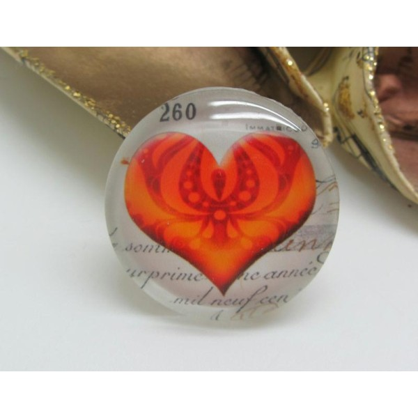 2 Cabochons 20 mm en Verre Coeur Vintage Orange - 20 mm - Photo n°1