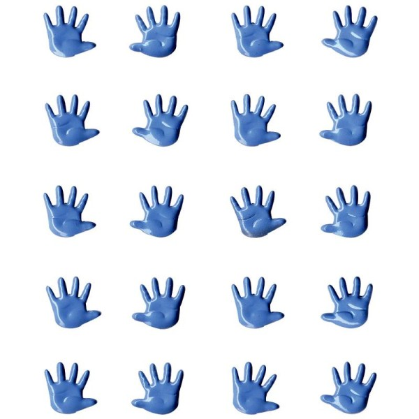 Attaches parisiennes mini Mains bleues x 20 - Photo n°1