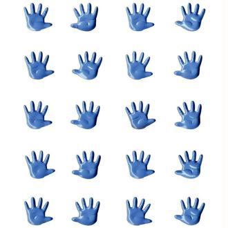 Attaches parisiennes mini Mains bleues x 20