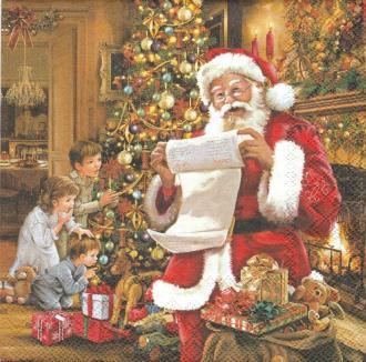 4 Serviettes en papier Père Noël Liste Format Lunch
