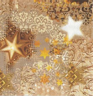 4 Serviettes en papier Noël étoile Format Lunch