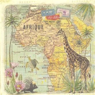 4 Serviettes en papier Voyage en Afrique Format Lunch