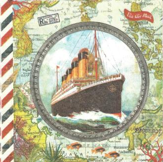4 Serviettes en papier Voyage en Paquebot Format Lunch