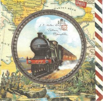 4 Serviettes en papier Voyage en Train Format Lunch