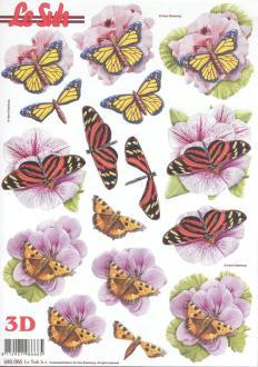 Feuille 3D pré-découpée A4 Papillon Fleurs