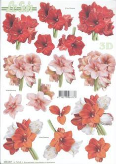 Feuille 3D pré-découpée A4 Fleurs Amaryllis