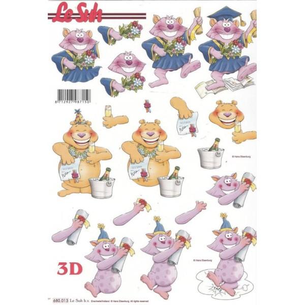Feuille 3D pré-découpée A4 Chat Diplôme - Photo n°1