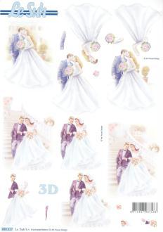 Feuille 3D pré-découpée A4 Mariage Mariés