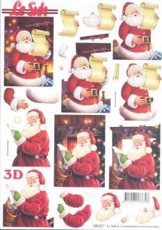 Feuille 3D pré-découpée A4 Père Noël Liste