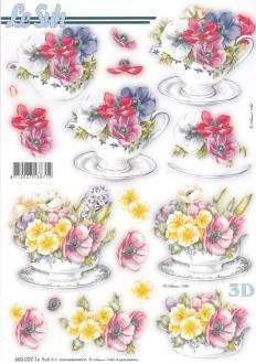 Feuille 3D pré-découpée A4 Tasse de Fleurs Anémones
