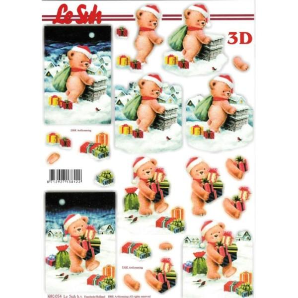 Feuille 3D pré-découpée A4 Nounours de noël - Photo n°1