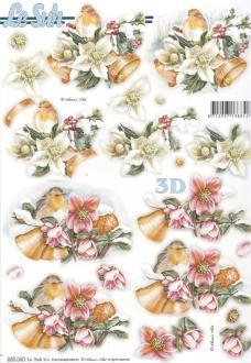 Feuille 3D pré-découpée A4 Fleur de Noël Oiseau