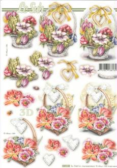 Feuille 3D pré-découpée A4 Panier de Fleurs