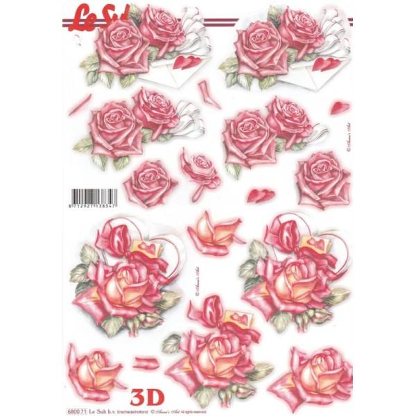 Feuille 3D pré-découpée A4 Roses Cœur - Photo n°1