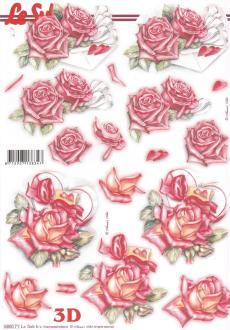 Feuille 3D pré-découpée A4 Roses Cœur
