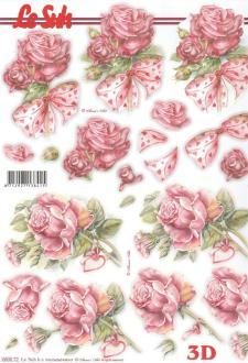 Feuille 3D pré-découpée A4 Roses Nœud