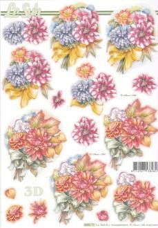 Feuille 3D pré-découpée A4 Bouquet de Fleurs