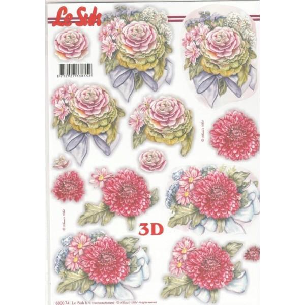 Feuille 3D pré-découpée A4 Fleurs Pompon - Photo n°1