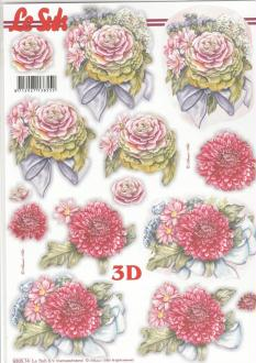 Feuille 3D pré-découpée A4 Fleurs Pompon