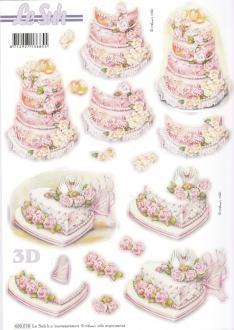 Feuille 3D pré-découpée A4 Mariage Gâteau Cygnes
