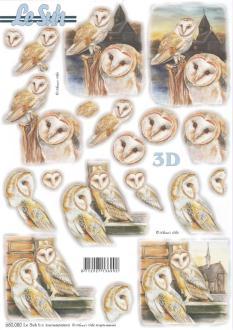 Feuille 3D pré-découpée A4 Chouette