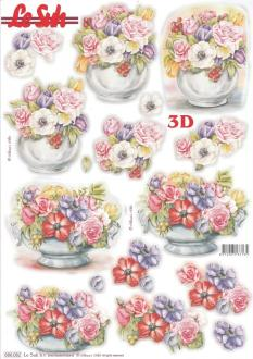 Feuille 3D pré-découpée A4 Fleurs Anémones