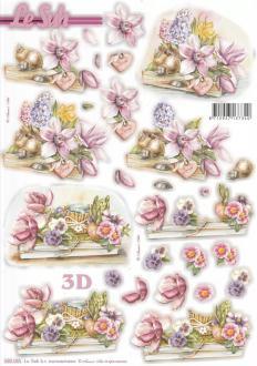 Feuille 3D pré-découpée A4 Plateau de fleurs Jacynthe