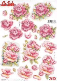 Feuille 3D pré-découpée A4 Roses Fleurs