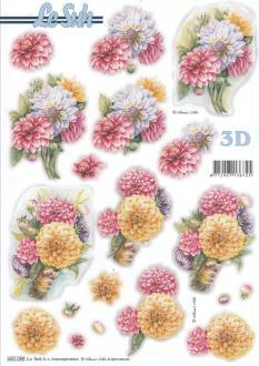 Feuille 3D pré-découpée A4 Fleur Dalhia