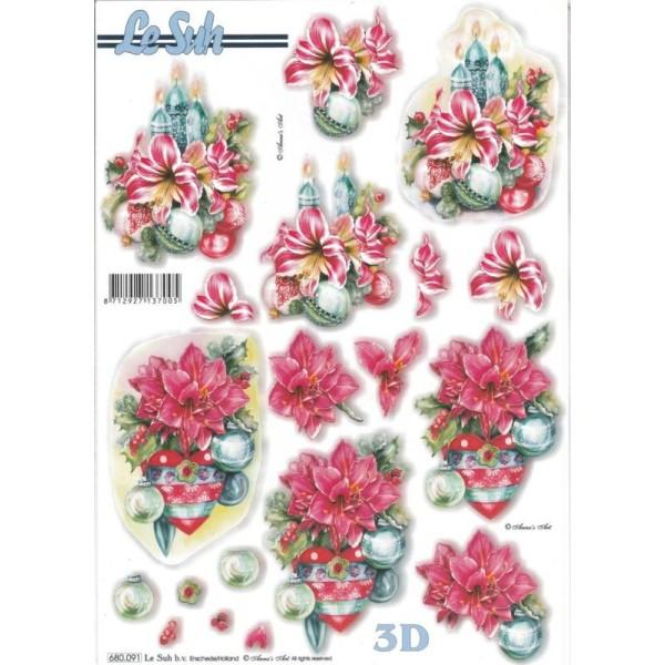 Feuille 3D pré-découpée A4 Decor de Noël Poinsettia - Photo n°1