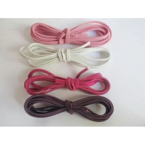 8 X 1M Cordon De Laine Aspect Daim Couleur  Blanc Rose Violet Et Violine - Photo n°1