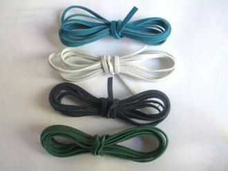 4 X 1M Cordon De Laine Aspect Daim Couleur  Blanc Noir Bleu Et Vert