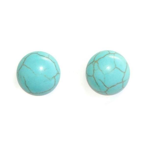2 Cabochons Rond En Turquoise De Synthèse  Bleu 18X6Mm - Photo n°1
