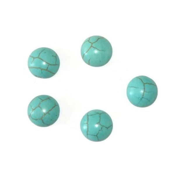 5 Cabochons Rond En Turquoise De Synthèse  Bleu 10X4Mm - Photo n°1