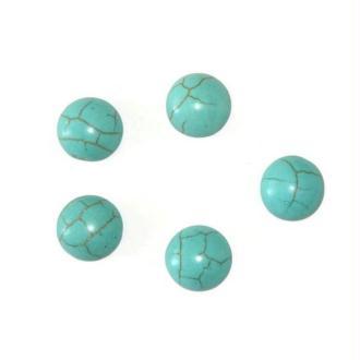 5 Cabochons Rond En Turquoise De Synthèse  Bleu 8X4Mm