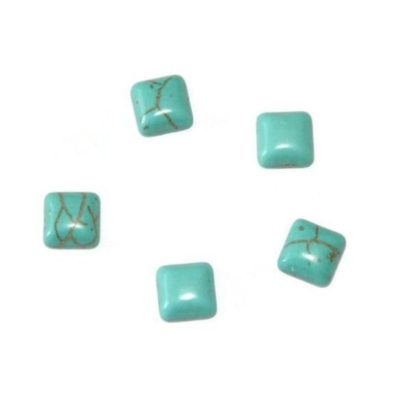 5 Cabochons Carré En Turquoise De Synthèse  Bleu 8X8X4Mm - Photo n°1