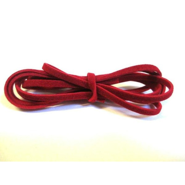 3 X 1M Cordon De Laine Aspect Daim Couleur Rouge - Photo n°1