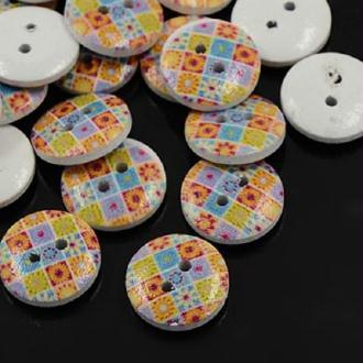 Lot de 10 boutons bois rond à motif 15 mm