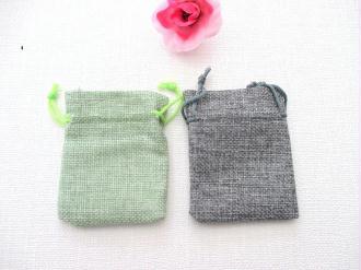 Lot de 2 petits sacs toile de jute 9 x 7 cm