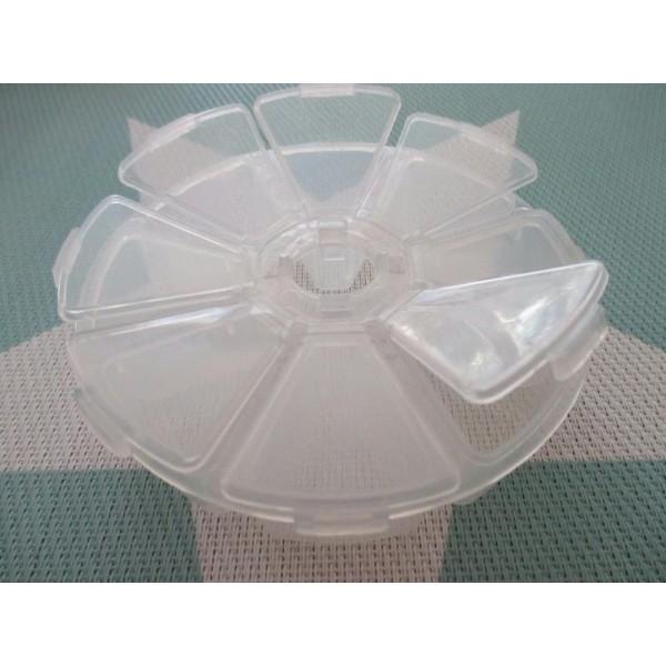 Petite boite 8 compartiments plastique 10 cm de diamètre - Boîte de rangement plastique - Creavea