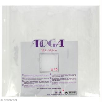 Pochettes plastiques album photo 30,5 x 30,5 cm - Lot de 10