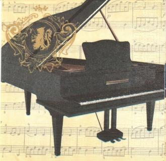 4 Serviettes en papier Musique Piano Format Lunch