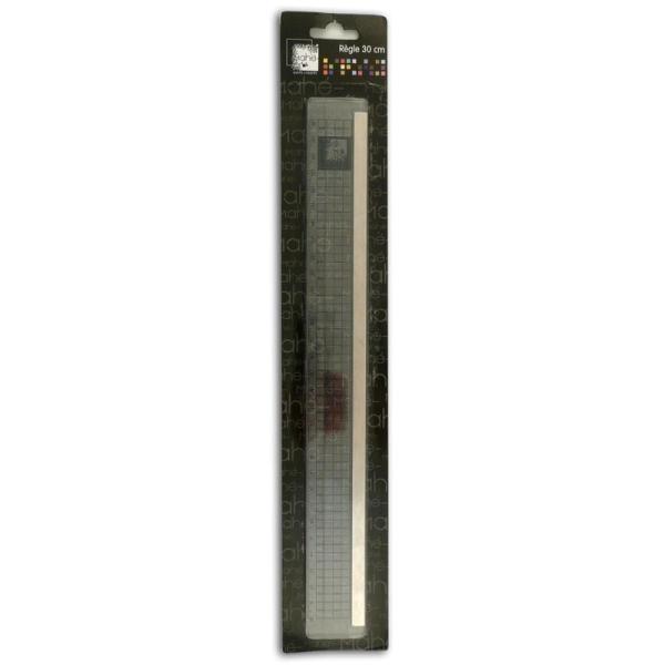 Règle plastique avec bord en métal 30 cm - Photo n°1