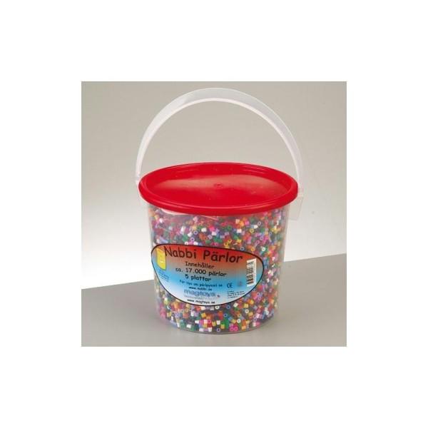 Perles tubulaires à repasser Ø 5 mm avec 5 plaques, 17.000 perles couleurs assorties - Photo n°1