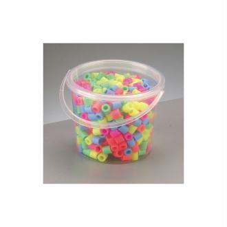 Seau de 500 Grosses perles tubulaires Ø 10 mm à repasser, couleurs pastels